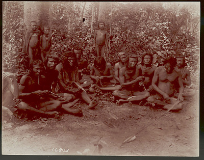 Group of Men and Boys Making Arrows; Three Wearing Nogodaus (Shell Labrets) and One with Monkey Teeth Necklace 1901