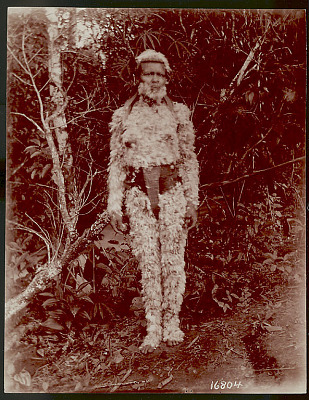 Woman Wearing Bark Girdle, Feathers in Hair, and Gummed Feathers Covering Face and Entire Body 1901