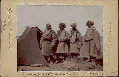 Four Men in Costume Outside Tent MAR 1892