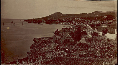 View of Town and Sailing Ships in Harbor n.d