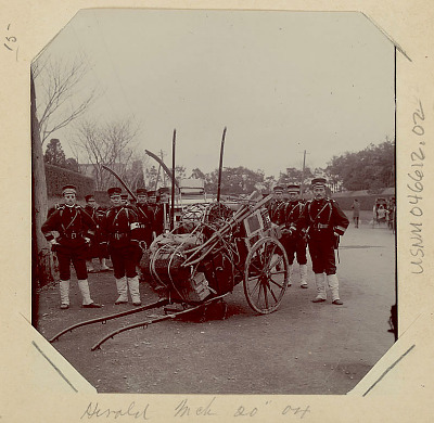 Group of Soldiers with Jinrikshas Loaded with Goods 1904