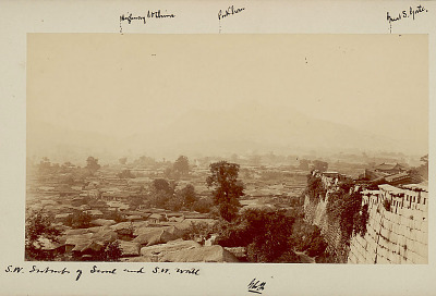 View of Southwest Suburbs of City and Southwest Wall, Indicating Locations of Highway to China, Pukhan Mountain, and Namdaemun (Great South Gate) 1884