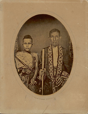 Portrait of King Mongkut, Rama IV, (Reigned 1851-1868 AD) And Queen Consort, Princess Rambong Bhamaraghiramy in Costume And with Ornaments 1857