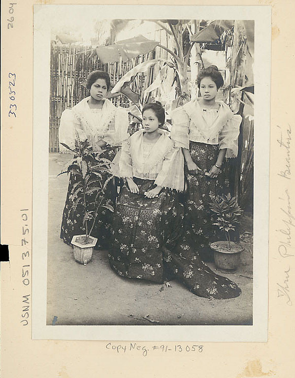 images for Three Young Women in Costume Near Banana Trees and Woven Bamboo Fence 1904
