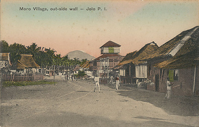Jolo Street Showing Wood Frame Houses with Thatch Roofs and Group in Costume n.d
