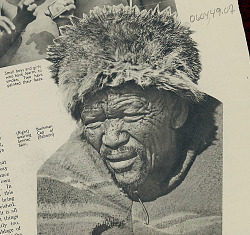 Aged Bushman Wearing Sennec (Baboon) Hat and Blanket SEP 1936