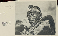 Abraham, 106 Years Old, Bushman Patriarch of Southern Kalahari, In Costume and Holding Switch SEP 1936