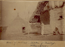 Group in Costume Outside Sultan Millari's House; Large Stucco Mud and Plank Structure with Thatch Roof; Small Dome-Shaped Thatch House Nearby 1891
