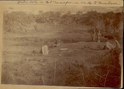 Group of Men and Boys in Costume with Jars at Water Hole En Route to Mombasa 1891
