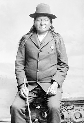 Cheyenne man, Two Moons with Medal and Ornaments 1888