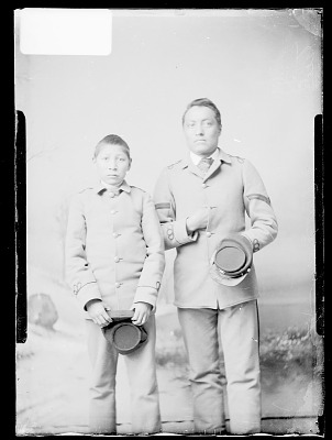Portrait of George Thomas and Charles Fisher, Students, In School Uniform 1879