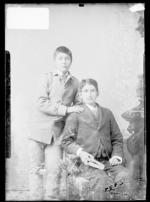 Portrait of Joseph J. Miller and Francis Ortis, Students, In School Uniform 1879