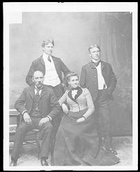 Portrait of Peter Morris, Non-Native Man, and Two Other Non- Native Men and Woman 1879