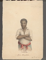 """Anduka from Bengela""/Portrait (Front) of Anduka, Tarwani? Man Originally from Zambezi (Zambeze) River Area (in Rhodesia, British Central Africa) and (in Mozambique, East Africa); Apparently a Slave Taken from Benguela, Portuguese West Africa (Angola) 1838 Painting"