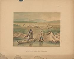 """Beluga Hunter and Dwellings, Lower Kuskokvim, Alaska"" n.d. Lithograph/Photomechanical"
