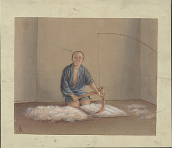 Man in Costume, Showing Method of Separating Fiber with Wooden Object in Textile Preparation Inside Room 1875 Drawing
