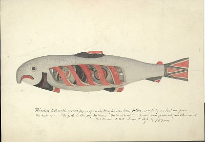 Carving:Wood:Paint:Dog Salmon with Effigy Figure Of Indian Inside:from Sitka, Alaska:Made by Indian from the Interior (Drawn and Painted from the Original by James G. Swan) 01 JUN 1878 Painting