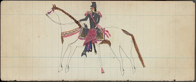 Anonymous drawing, probably Cheyenne, of man wearing military uniform with epaulets and blanket wrapped around waist, n.d