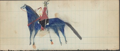 Anonymous drawing, probably Cheyenne, of Indian man on blue horse, n.d