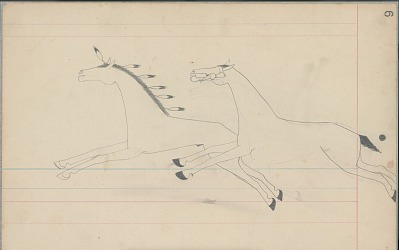 Anonymous Cheyenne drawing of a horse with black tail following another horse with feathers in mane, ca. 1880