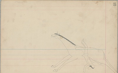 Anonymous Cheyenne unfinished drawing of man falling from horse, ca. 1880