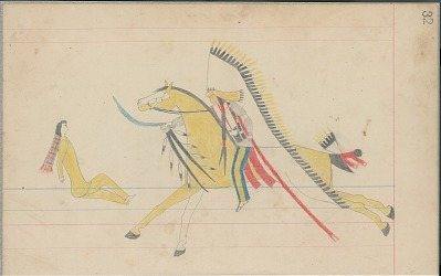 Anonymous Cheyenne drawing of Indian man on horseback counting coup with saber, ca. 1880