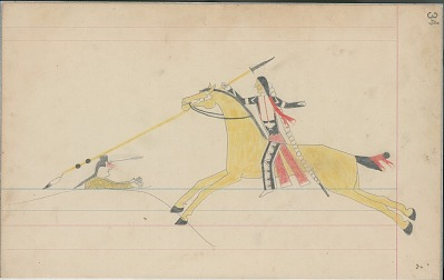 Anonymous Cheyenne drawing of Indian on yellow horse counting coup on Indian with arms outreached, ca. 1880