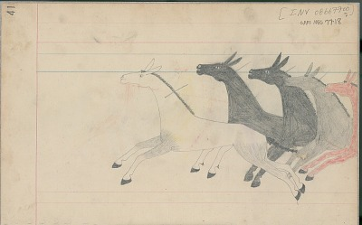 Anonymous Cheyenne drawing of Indian with lance chasing horses, ca. 1880