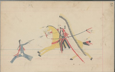 Anonymous Cheyenne drawing of Indian with headdress on yellow horse shooting at Indian in blue, ca. 1880