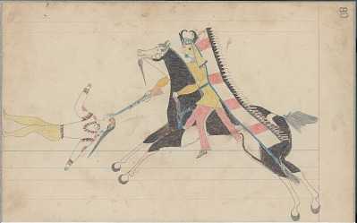 Anonymous Cheyenne drawing of Indian on brown horse shooting second Indian, ca. 1880