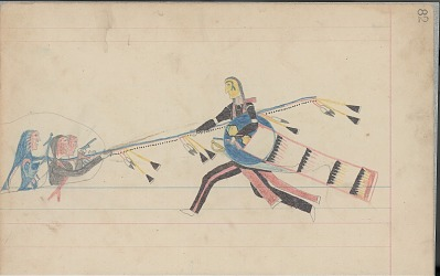 Anonymous Cheyenne drawing of Indian man with shield counting coup with lance, ca. 1880