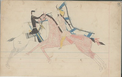 Anonymous Cheyenne drawing of Indian man on horseback shooting mounted U.S. soldier, ca. 1880