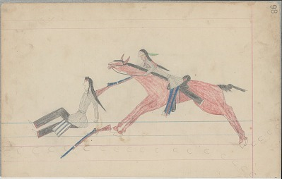 Anonymous Cheyenne drawing of Indian man counting coup with rifle, ca. 1880