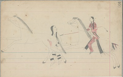 Anonymous Cheyenne drawing of Indian man on horseback counting coup with lance, ca. 1880