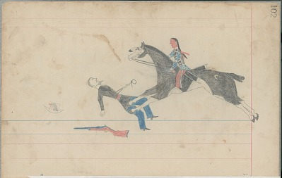 Anonymous Cheyenne drawing of Indian man on horseback counting coup with quirt on U.S. soldier, ca. 1880