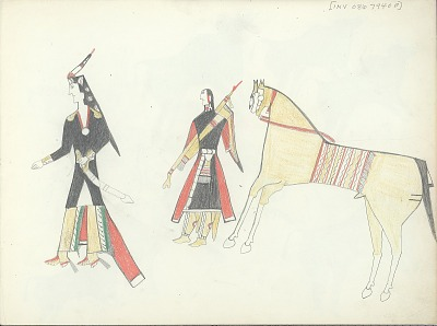 Anonymous Kiowa drawing of man and woman with horse nearby, ca. 1875-1877