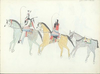 Anonymous Kiowa drawing of man and woman riding horses and leading a pack animal that is carrying a parflech, ca. 1875-1877