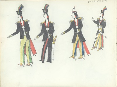 Anonymous Kiowa drawing of four Indian men in military coats with epaulets and peace medals, ca. 1875-1877