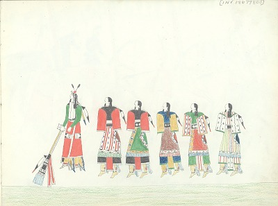 Anonymous Kiowa drawing of five women and a man carrying a tomahawk, ca. 1875-1877