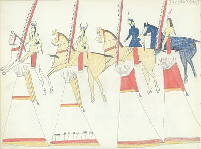 Anonymous Kiowa drawing of four men on horseback carring lances riding past four painted tipis, ca. 1875-1877