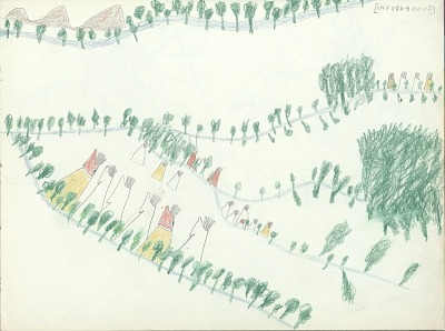 Anonymous Kiowa drawing of tipi camp spread out along branching tree-lined streams, hills in the background, ca. 1875-1877