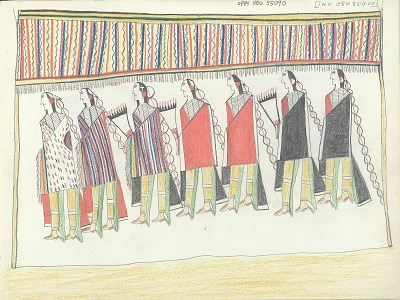 Anonymous Kiowa drawing of women and men standing beneath shades, ca. 1875-1877