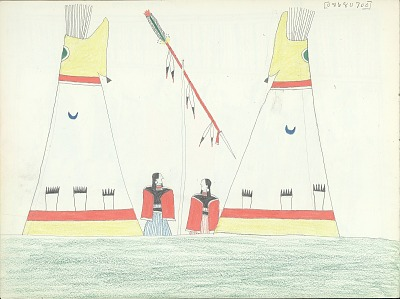 Anonymous Kiowa drawing of two women standing between two painted lodges, with a lance hanging on a pole located between the women, ca. 1875-1877