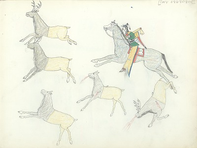 Anonymous Kiowa drawing of a man horseback hunting elk with bow, ca. 1875-1877