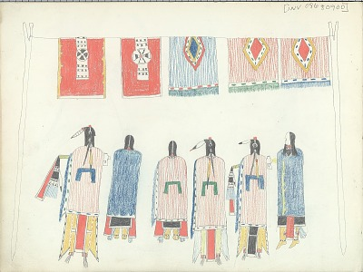 Anonymous Kiowa drawing of three men and three women standing beneath blankets hung from a rope suspended between two poles, ca. 1875-1877