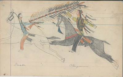 Anonymous Cheyenne drawing of a Cheyenne on horseback counting coup with lance on Shoshoni on horseback, ca. 1880s