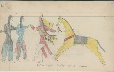 Anonymous Cheyenne drawing of White Eagle capturing Pueblo Indians, ca. 1880s