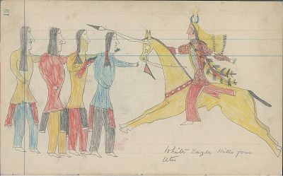 Anonymous Cheyenne drawing of White Eagle killing four Utes, ca. 1880s