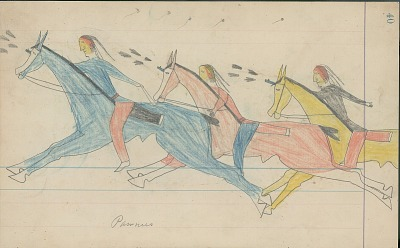 Anonymous Cheyenne drawing of Pawnees chasing a Cheyenne wearing scalp shirt and carrying shield, ca. 1880s