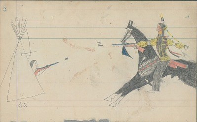 Anonymous Cheyenne drawing of Indian man on horseback shooting at Ute in tipi, ca. 1880s